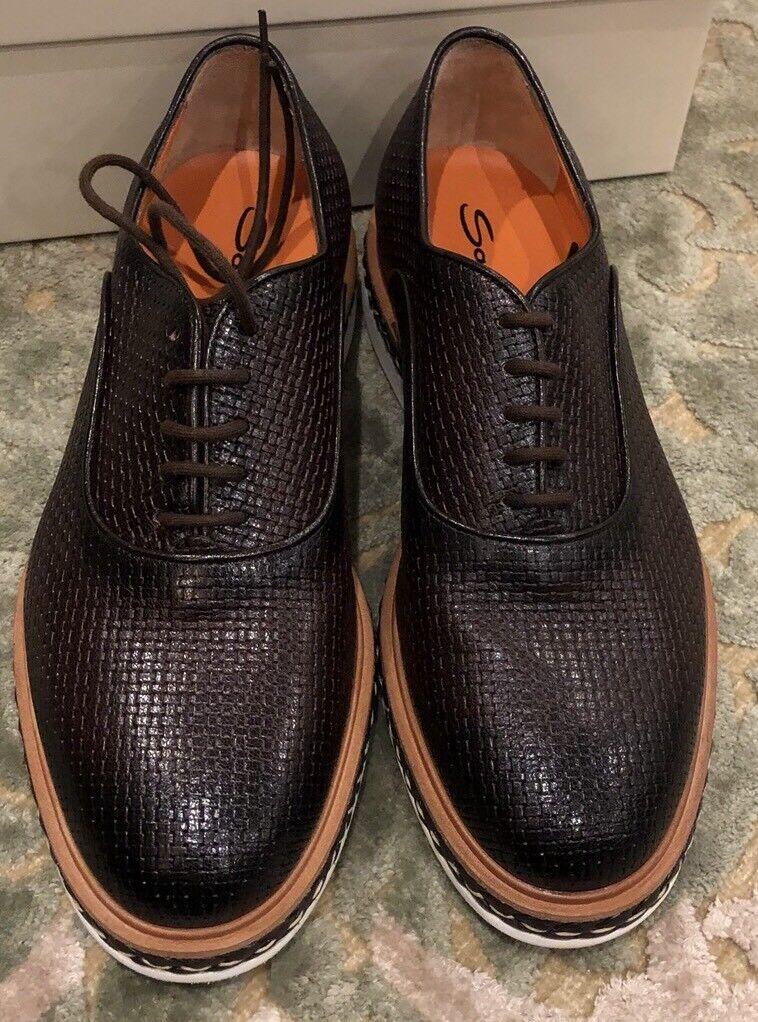 750 Nouveau Santoni Homme Chaussures Marron Taille 7 Us 6 Uk 40 UE