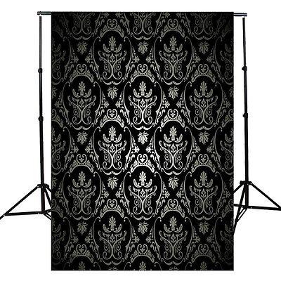 5x7FT Black Damask Photography Backdrop Studio Photo Background Prop 2.1m*1.5m
