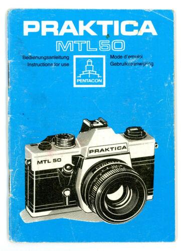 Pentacon cámara manual de instrucciones Praktica MTL 50 User Manual instrucciones y439