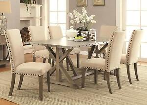 Pleasing Details About Coaster 105571 572 Dining Table 7 Pc Set With Tan Upholstered Chairs Unemploymentrelief Wooden Chair Designs For Living Room Unemploymentrelieforg