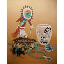 Navajo canvas painting HOPI SUN god KACHINA 18x24 by renowned Jimmy Yellowhair