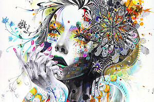 Abstract Girl Face Woman Flowers Colourful Poster Print
