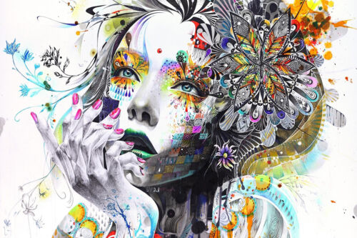 Abstract Girl Face Woman Flowers Colourful Poster Print Wall Art ...