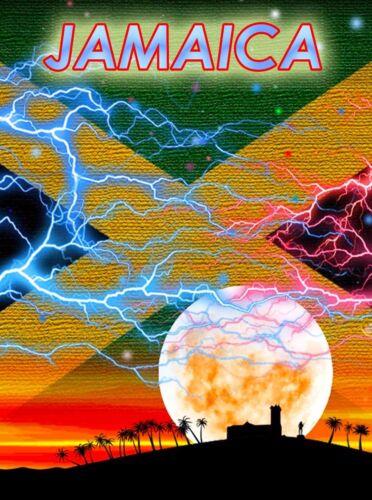Jamaica Jamaican Caribbean Island Flag Moon Travel Advertisement Art Poster