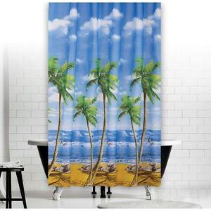 Détails sur Rideau de Douche en Tissu Modèle Palm Beach 180x180 cm Blanc  Bleu Vert Jaune