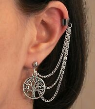 Lord of the Rings White Tree of Gondor Silver Ear-chain Earring Stud Ringer Gift