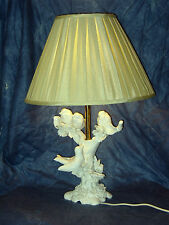 """LARGE ITALIAN MADE WHITE GLAZED TABLE LAMP WITH 4 BIRDS IN TREE PERFECT 24""""TALL"""