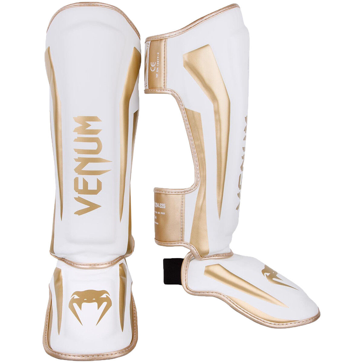 Venum Elite Lightweight Hook and Loop Shin Guards - White gold