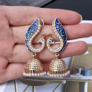 Vintage-Indian-Peacock-Gold-Pearl-Drop-Earrings-Gypsy-Women-Vintage-Jewelry