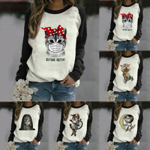 Womens-Cat-Print-Tops-Pullover-Jumper-Sweatshirt-Ladies-Long-Sleeve-Blouse-Tops