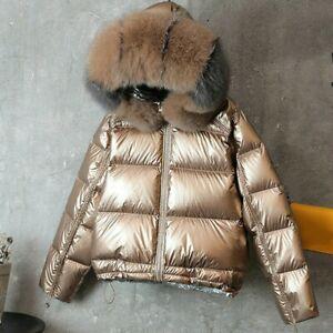 Women-Duck-Down-Coat-Hooded-Parka-Warm-Jacket-Puffer-Shiny-Ski-Winter-Cute