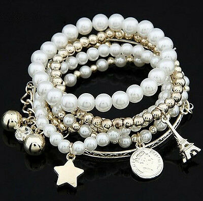 Fashion Womens Unique Jewelry Gold Metal Pearl Multilayer Pendant Bracelet Gift