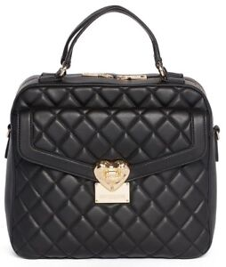 f00bf6ccd958 New LOVE Moschino Quilted Satchel Handbag Faux Vegan Leather Bag in ...