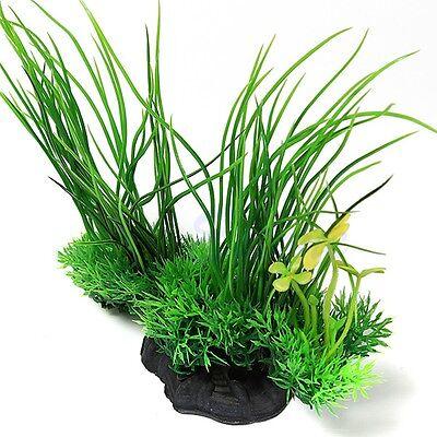 """8"""" Green Artificial Plastic Grass Water Plant Fish Tank Ornament Aquarium Decor"""
