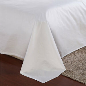 15xQUEEN-LONG-BED-SIZE-FLAT-SHEET-PLAIN-WHITE-2CM-TOPHEM-5-HOTEL-GRADE-250x305CM