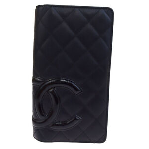 Authentic-CHANEL-CC-Cambon-Long-Bifold-Wallet-Purse-Leather-Black-Pink-64SA171