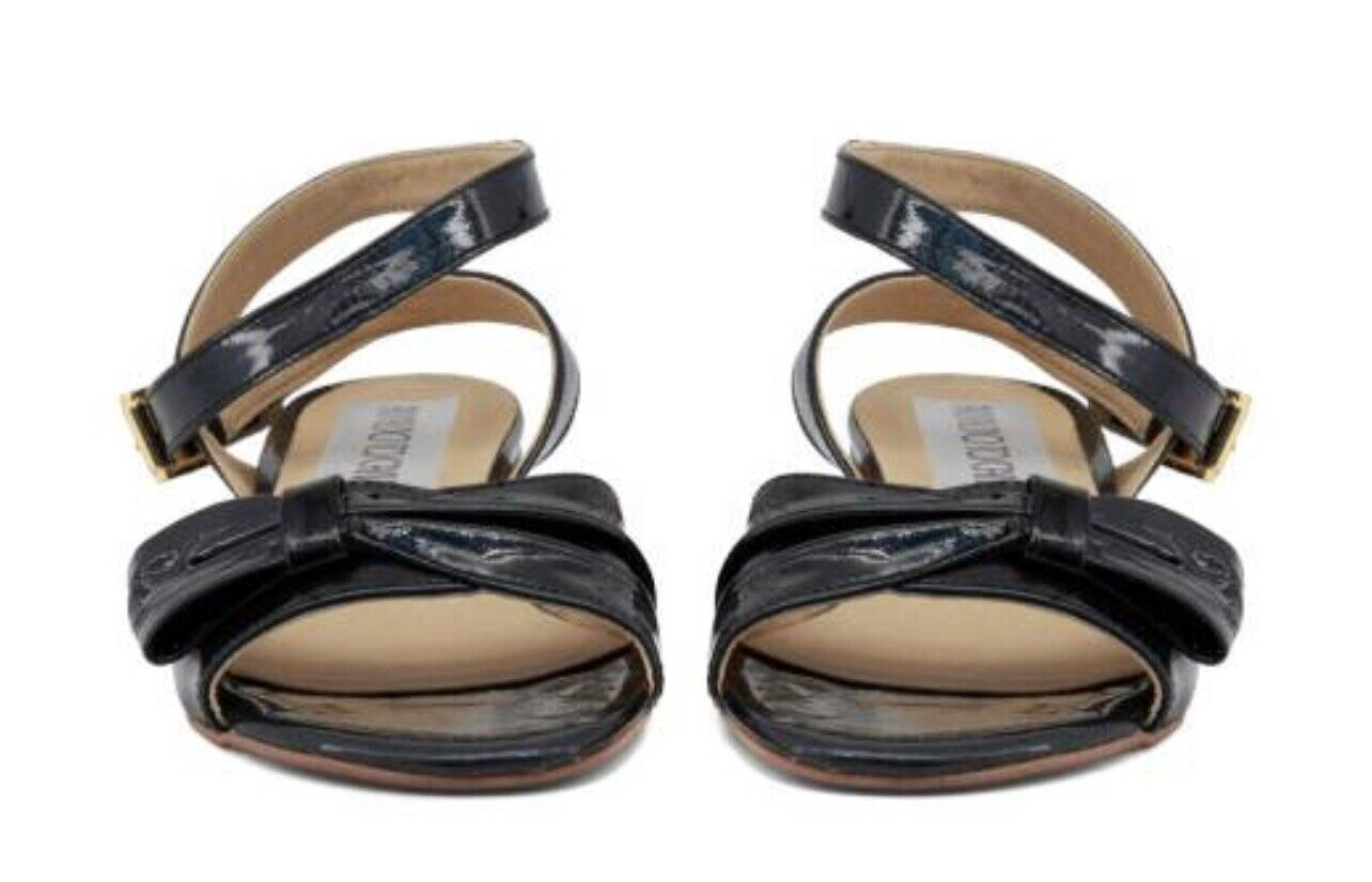 Arnaldo TOSCANI cuir noir Bow Front Cheville Sangle Sandales Taille 7