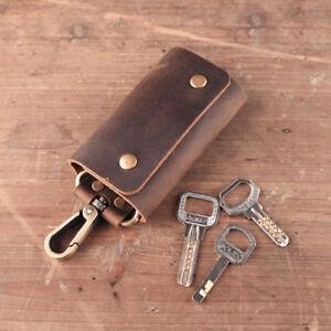 Genuine-Leather-Key-Case-Wallet-Men-Holder-Car-Key-Ring-Chain-Crazy-Horse