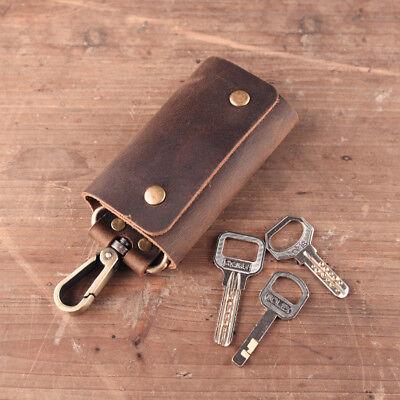 Men/'s Crazy Horse Genuine Leather Car Key Case Chains Holder Buckle Closure