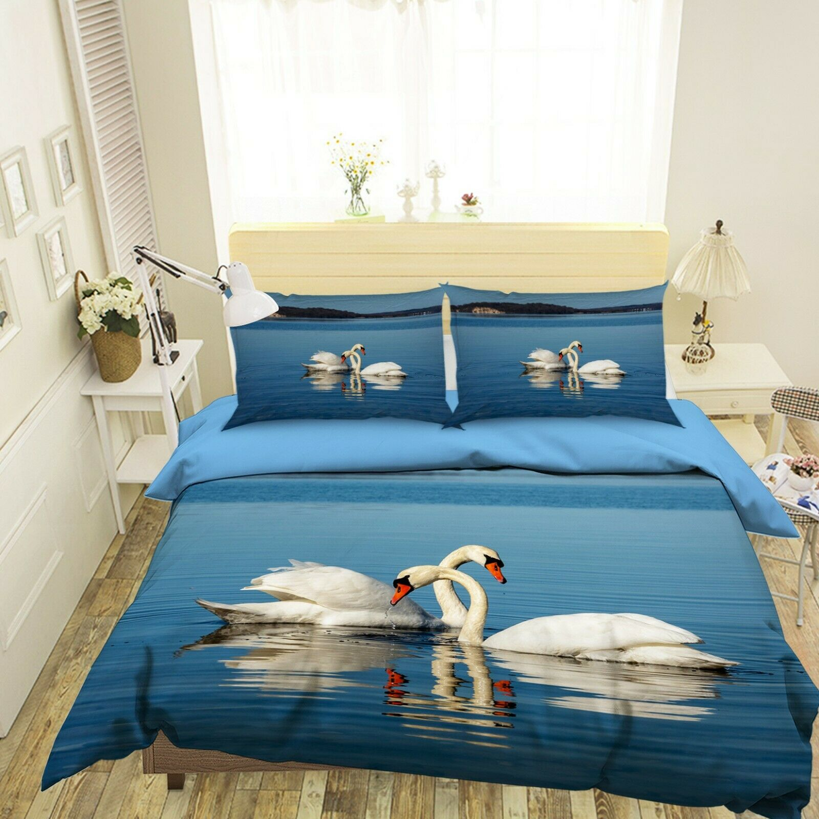 3D Weiß Swans N02 Animal Bed Pillowcases Quilt Duvet Cover Queen King Amy