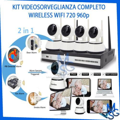 KIT VIDEOSORVEGLIANZA WIFI WIRELESS TELECAMERE SENZA FILI HD 960p NVR NETWORK 4G