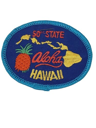 Vintage 50th State Aloha Hawaii iron-on Patch Mint on Card