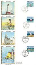 Canada Scott # 1063-1066 Lighthouses FDC. Colorano Silk Cachet.