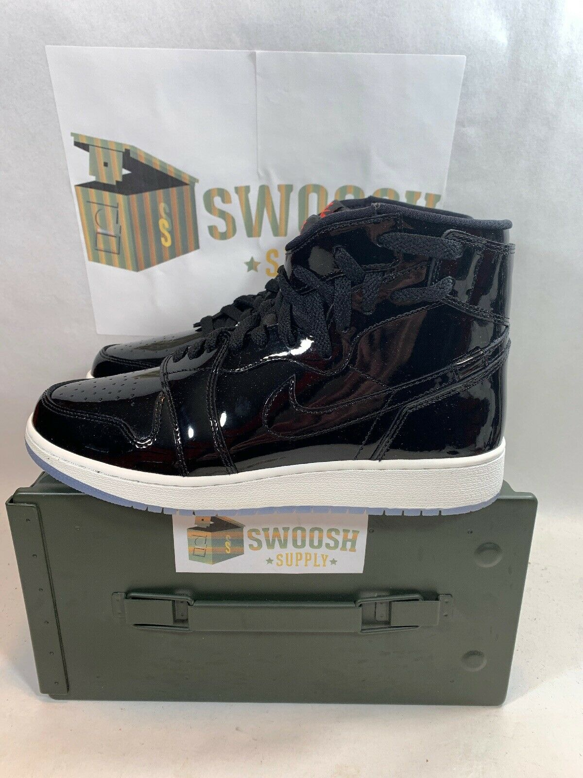 Nike Nike Nike Womens Air Jordan 1 Rebel AR5599 001 Size 10 Black Patent Space Jam 93bc4a