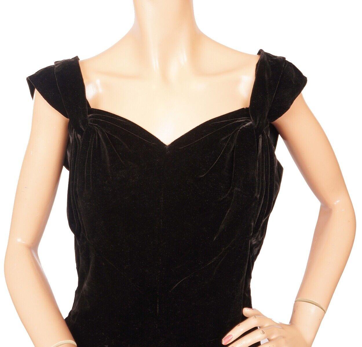 Vintage Molyneux Black Velvet Evening Gown 1930s … - image 5