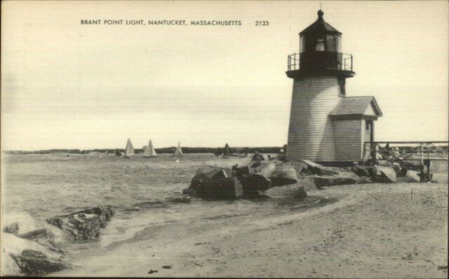 Nantucket MA Brant Point Lighthouse b&w c1940s Postcard