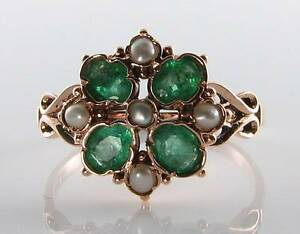 Lush 9ct Rose Gold Colombian Emerald Amp Pearl Art Deco 4