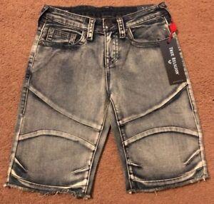 e453b7fde True Religion Grey Geno Moto Boys Cut Off Short Jeans Size 12 79 ...