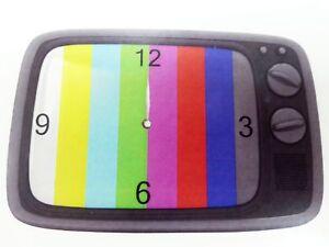 Retro-Wanduhr-aus-Glas-Fernseher-TV-Testbild-Uhr-30x20cm-grau