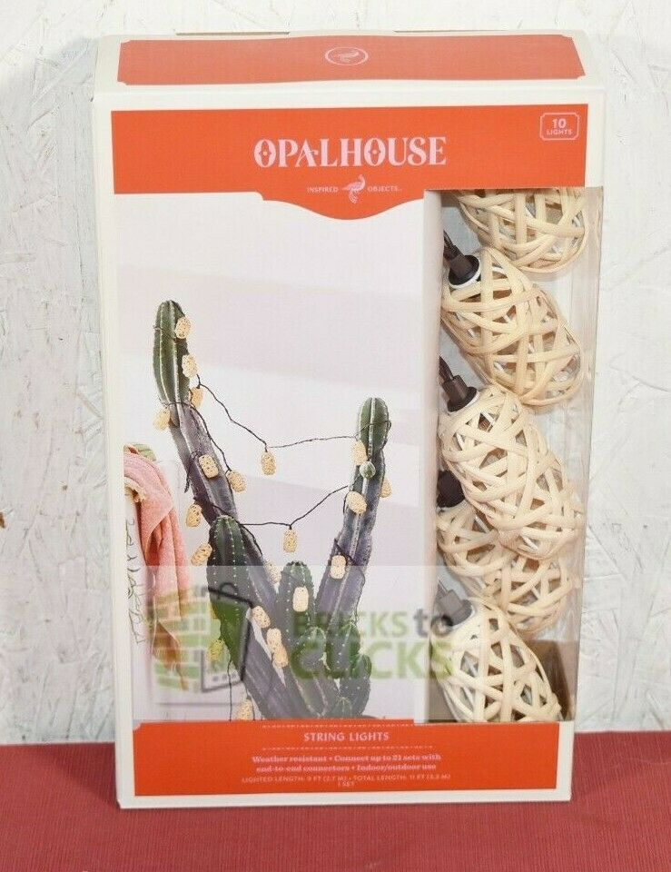Opalhouse- 10ct Elongated Rattan Woven Outdoor String Lights Qty of 4