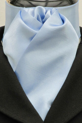 Ready Tied Baby Blue Faux Silk Shiny Dressage Riding Stock Show tie