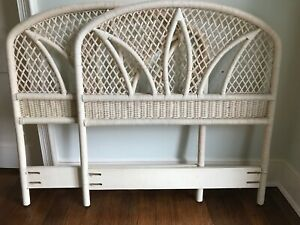 Details About 2 Twin Size Wicker Headboards Clean Quality Sturdy Excellent Condition Local