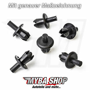 10x Spreiznieten Befestigung Clip für Opel VW Ford Audi BMW Mercedes Schwarz