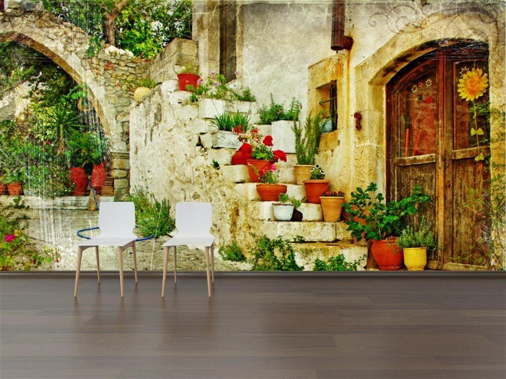 3D Cortile Fiore ·Parete Murale Foto Carta da parati immagine sfondo muro stampa