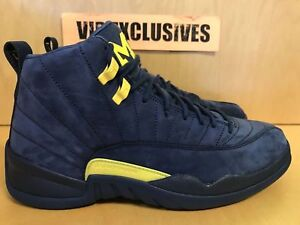 size 40 d9c6e 4747c Image is loading Nike-Air-Jordan-12-Retro-XII-Michigan-College-