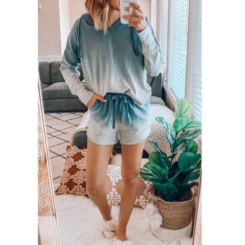 Details about  /Women Ladies Tie-dye Printed Pajamas Sleepwear Long Sleeve Tops Shorts Nightwear