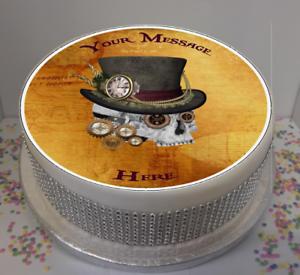 """Nouveauté personnalisé steampunk crâne 7.5/"""" comestible glaçage cake topper anniversaire"""