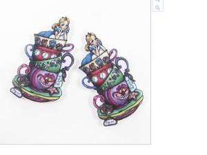 Alice in Wonderland Planar Resin flatback 45 x 25mm Teacups pack of 5