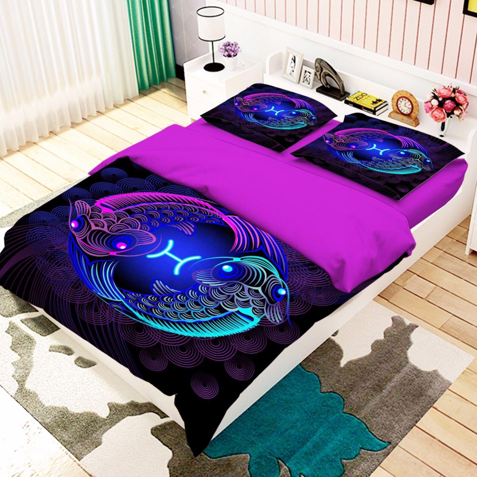 3D Pisces 197 Bett Pillowcases Quilt Duvet Startseite Set Single Königin König Größe AU