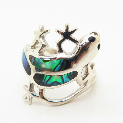 Salamander Ring Lizard Details about  /925 Sterling Silver Real Abalone Shell Gecko