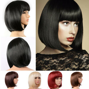 Lady-Girl-Bob-Wig-Women-039-s-Short-Straight-Bangs-Full-Hair-Wigs-Cosplay-Party