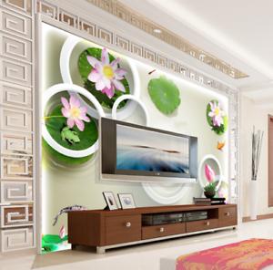 3D Lotus Fish Circle 8 Wall Paper Murals Wall Print Wall Wallpaper Mural AU Kyra