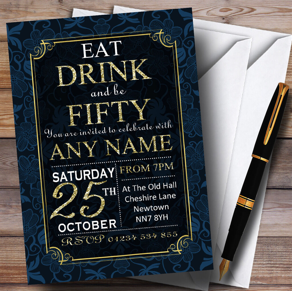 Blau & Gold Flowers 50th Personalised Birthday Party Invitations