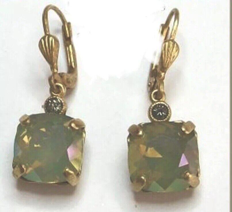 Catherine Popesco La Vie Parisienne Celadon gold Drop Earrings 10mm 6581G