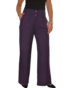 Womens Wide Leg Soft Office Trousers City Trousers Light Brown NEW 10-22