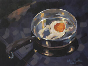 Original-Still-Life-Painting-034-Fried-Egg-in-Pan-034-9-x-12-inch-by-John-Wallie